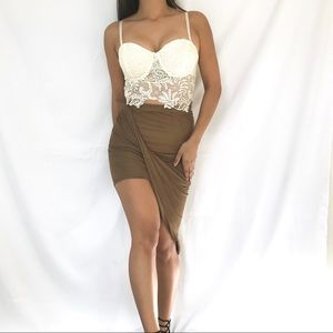 Dresses & Skirts - • Suede Asymmetrical Skirt •